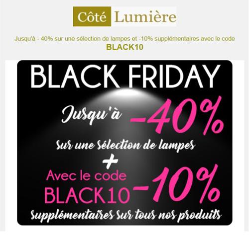 code promo de Côté Lumière e-commerce pour le Black Friday